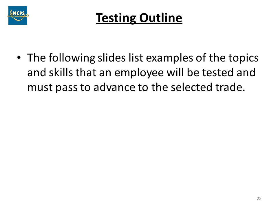 Testing Outline
