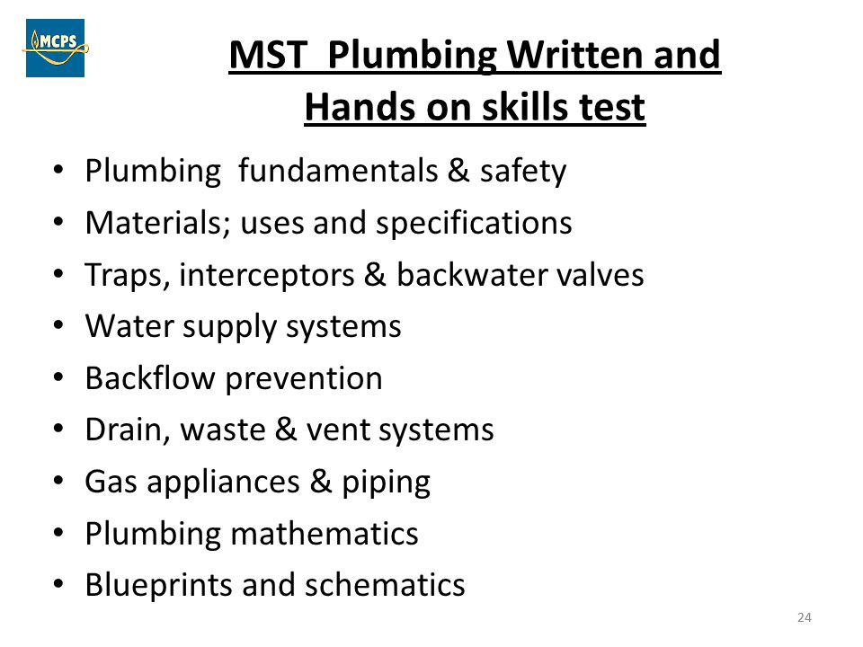 MST Plumbing Written and Hands on skills test