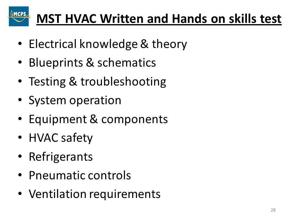 MST HVAC Written and Hands on skills test