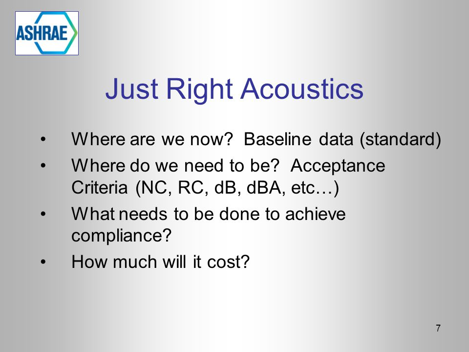 Just Right Acoustics Where are we now Baseline data (standard)