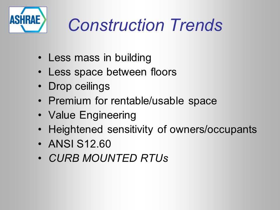 Construction Trends Less mass in building Less space between floors