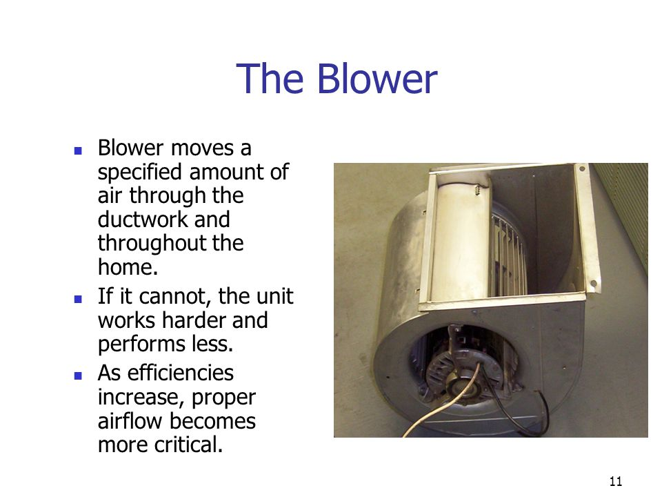 The Blower Blower moves a specified amount of air through the ductwork and throughout the home.