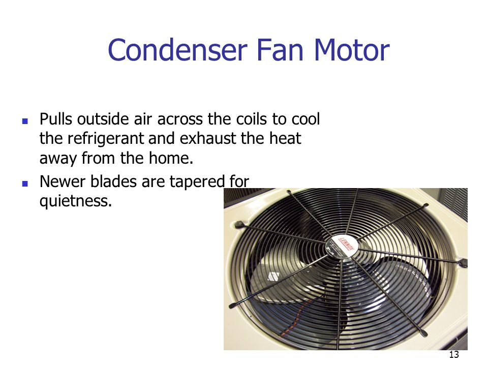 Condenser Fan Motor Pulls outside air across the coils to cool the refrigerant and exhaust the heat away from the home.