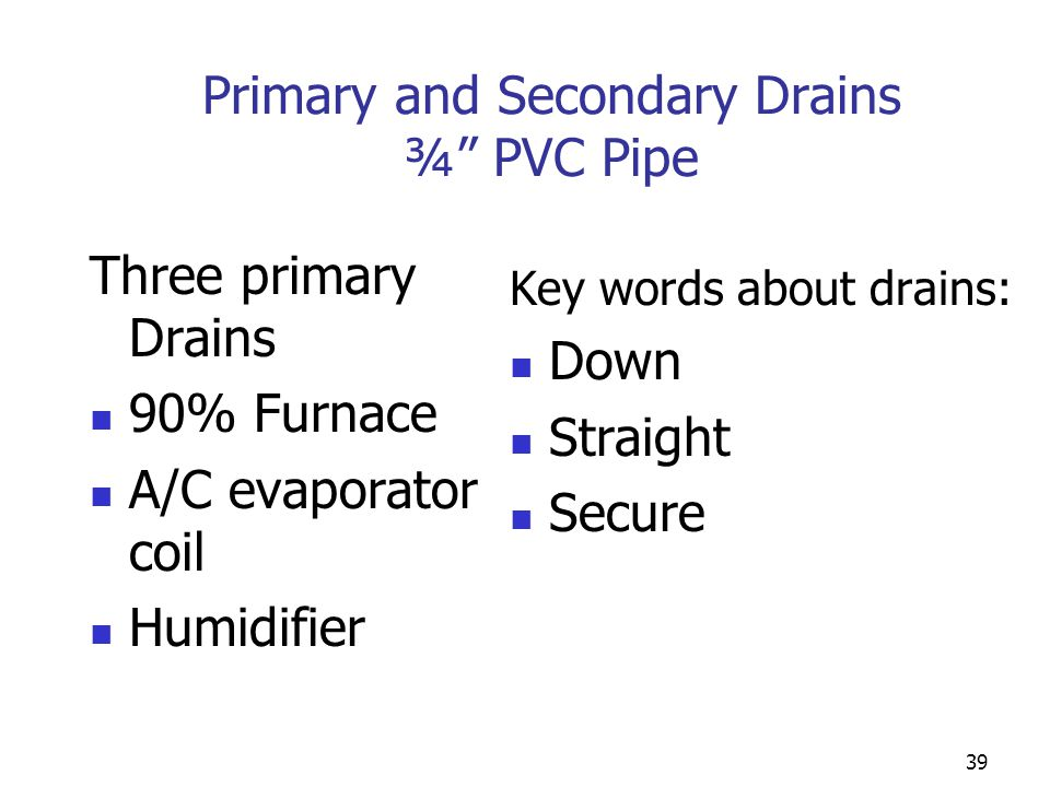 Primary and Secondary Drains ¾ PVC Pipe