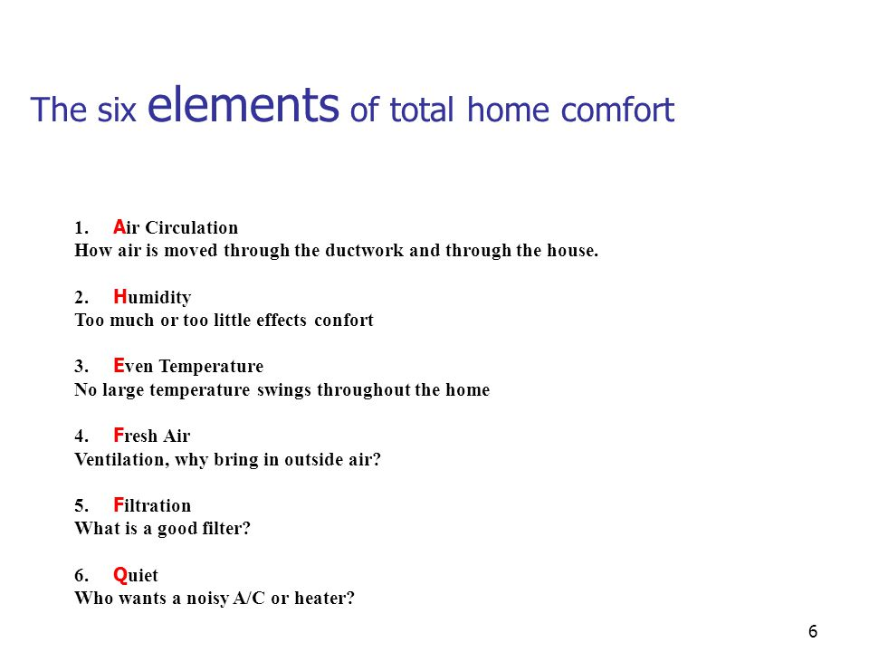 The six elements of total home comfort