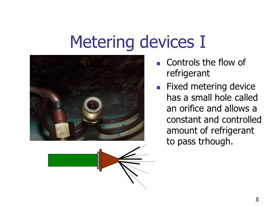 Metering devices I Controls the flow of refrigerant