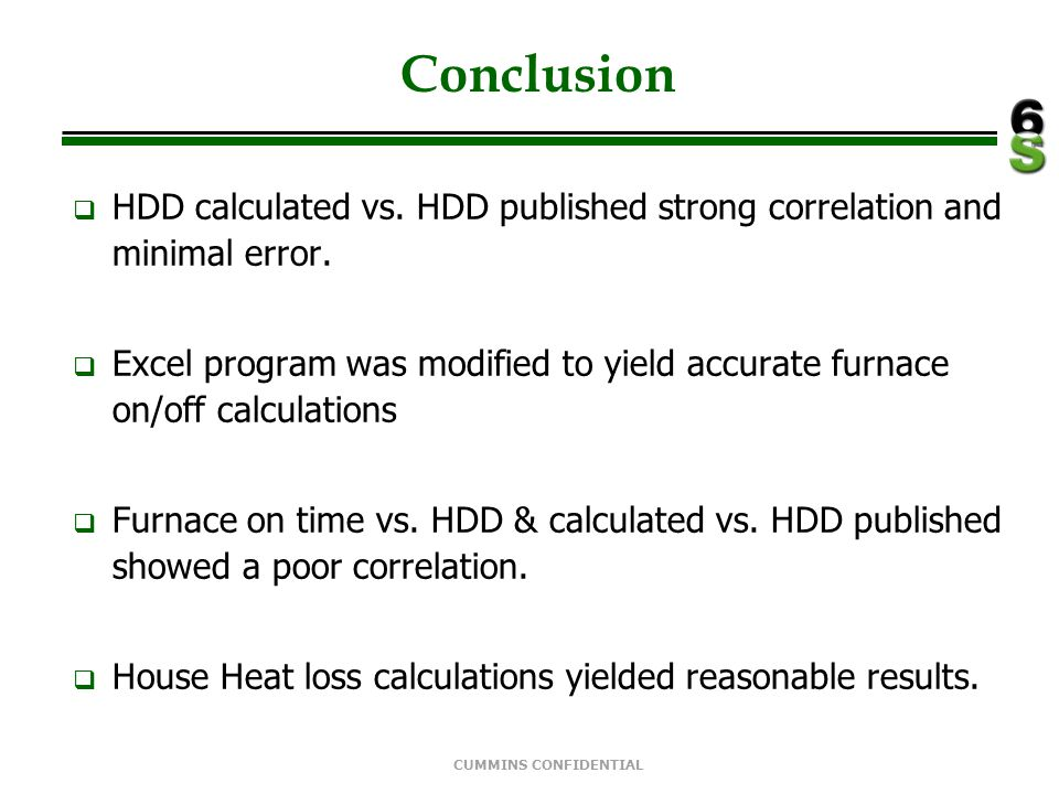 Conclusion HDD calculated vs. HDD published strong correlation and minimal error.
