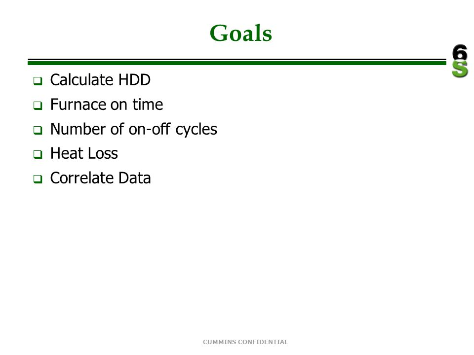 Goals Calculate HDD Furnace on time Number of on-off cycles Heat Loss