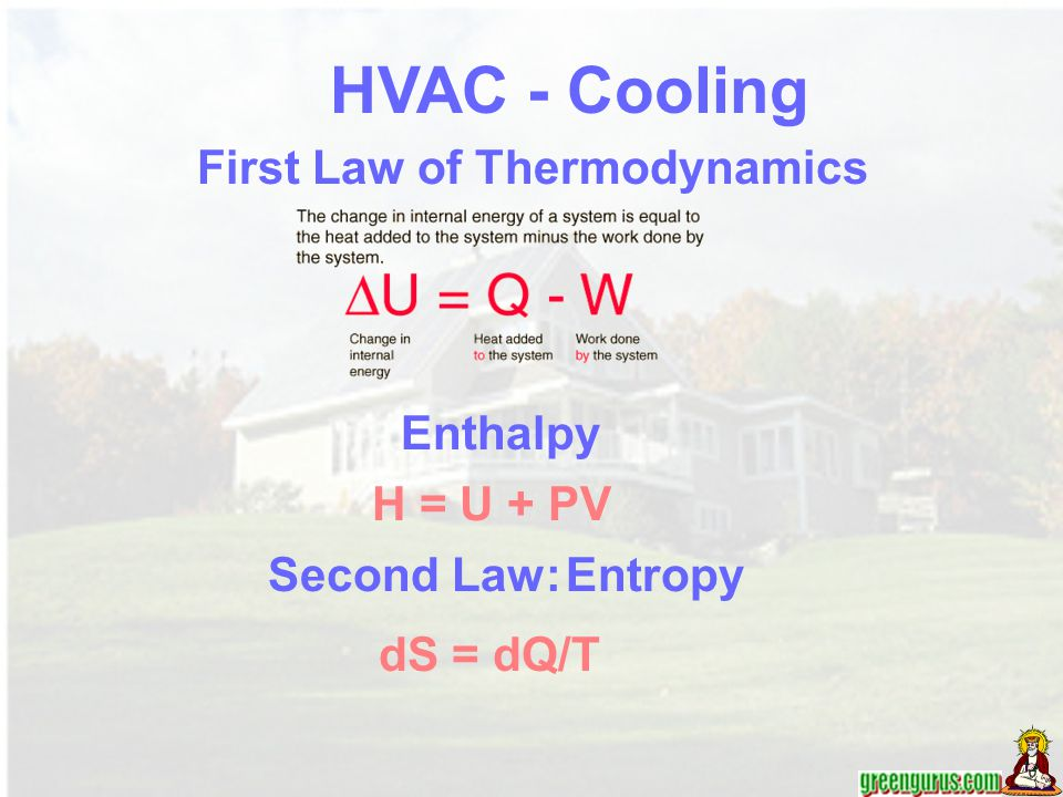 HVAC - Cooling First Law of Thermodynamics Enthalpy H = U + PV