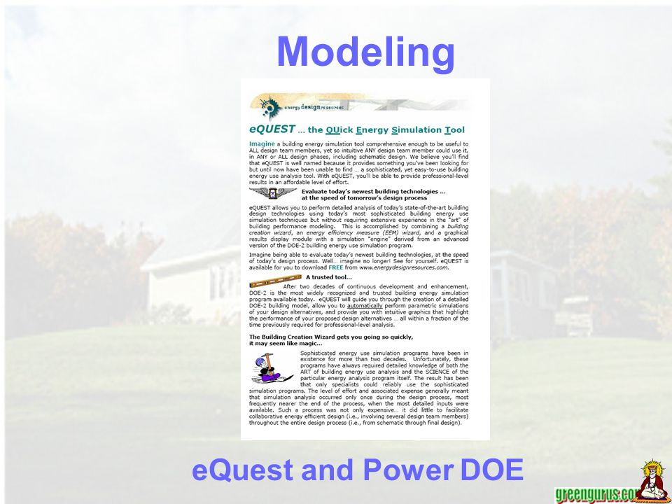 Modeling eQuest and Power DOE