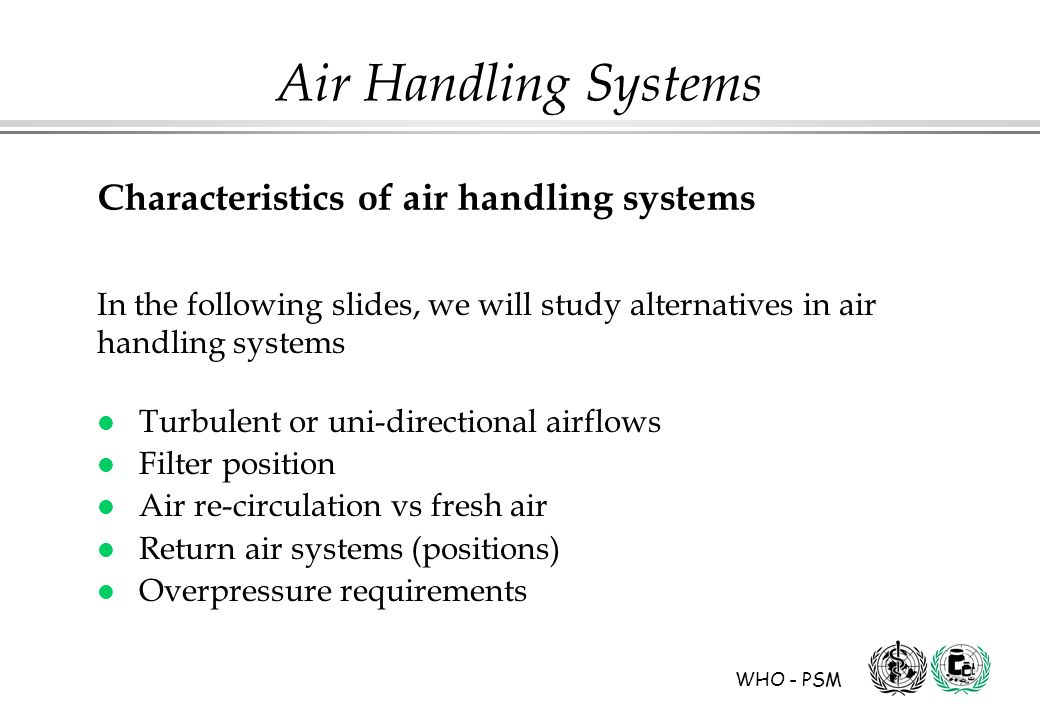 Characteristics of air handling systems