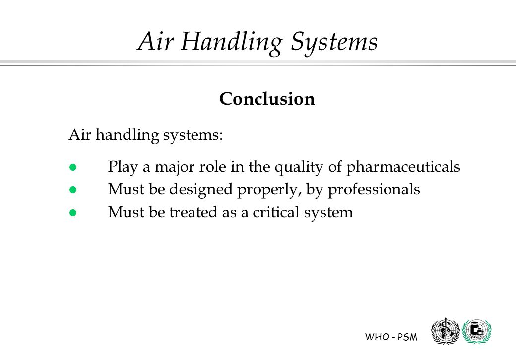 Conclusion Air handling systems: