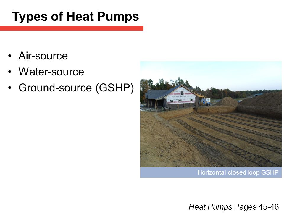 Types of Heat Pumps Air-source Water-source Ground-source (GSHP)