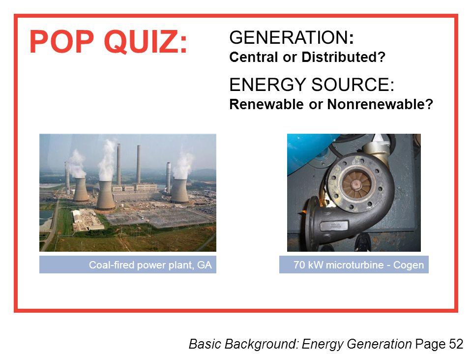 POP QUIZ: GENERATION: ENERGY SOURCE: Renewable or Nonrenewable