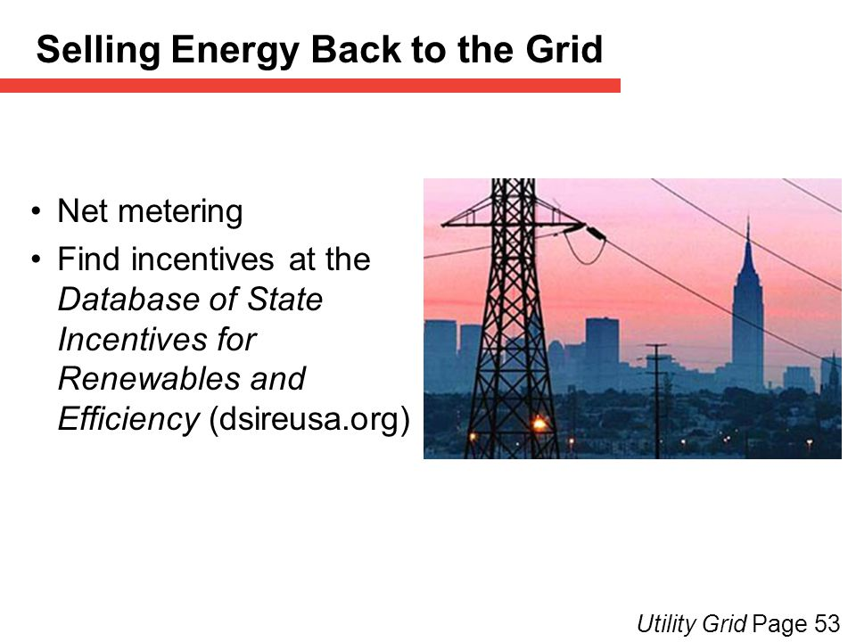 Selling Energy Back to the Grid