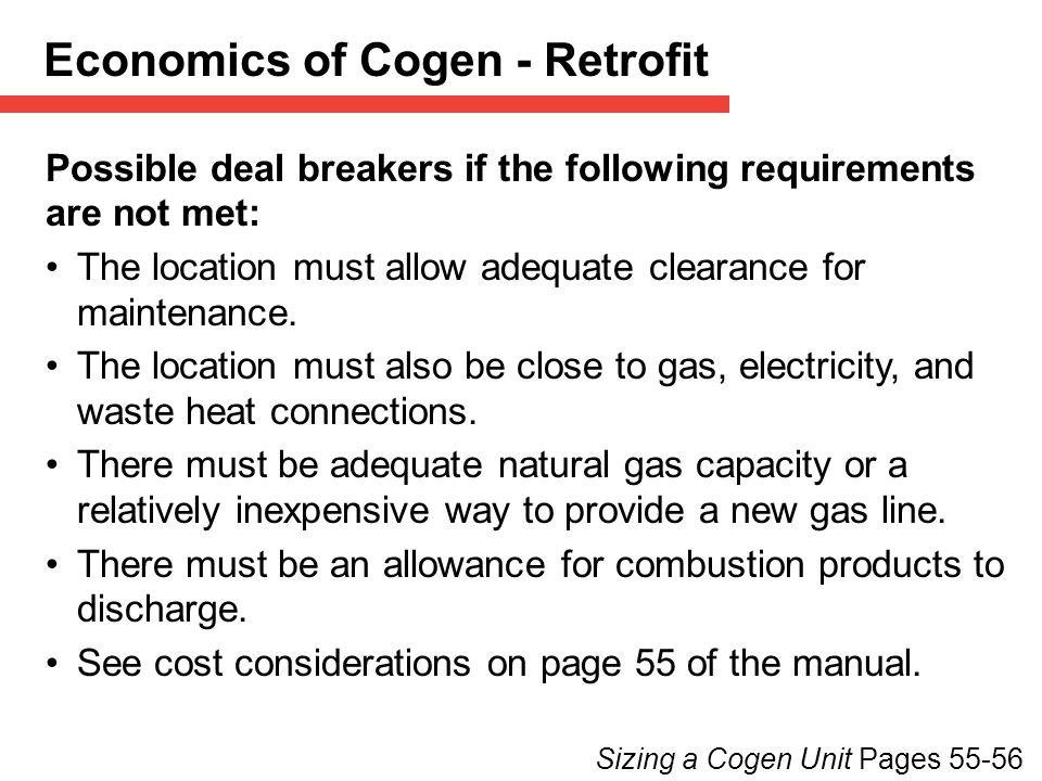 Economics of Cogen - Retrofit