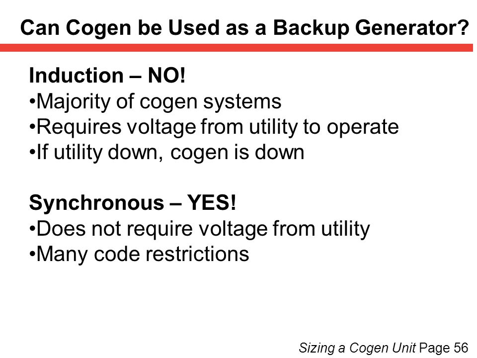 Can Cogen be Used as a Backup Generator