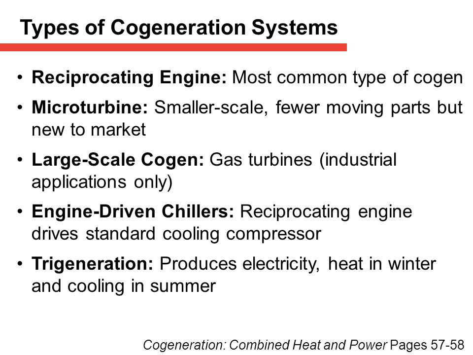 Types of Cogeneration Systems
