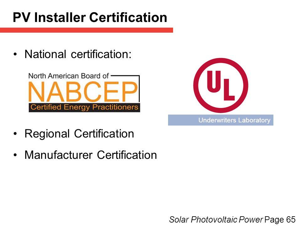 PV Installer Certification
