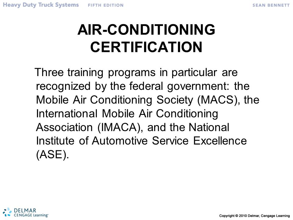 AIR-CONDITIONING CERTIFICATION