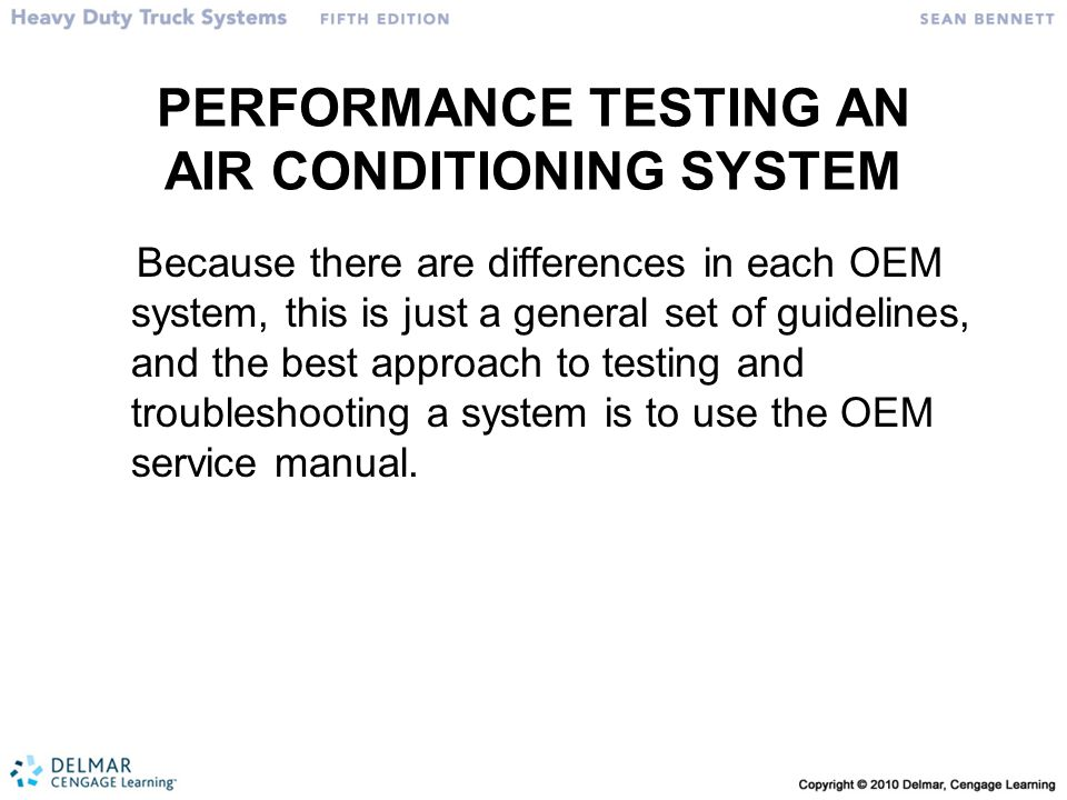PERFORMANCE TESTING AN AIR CONDITIONING SYSTEM