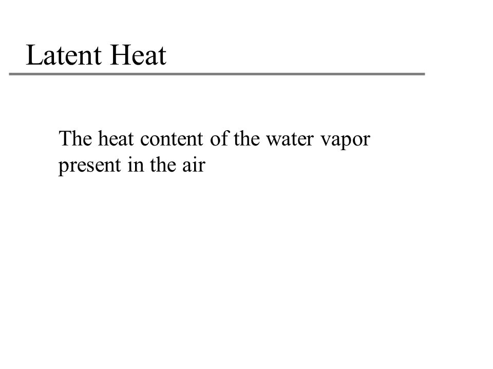 Latent Heat The heat content of the water vapor present in the air 20