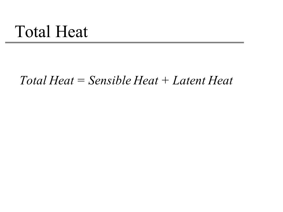 Total Heat Total Heat = Sensible Heat + Latent Heat 21