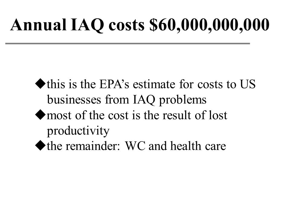 Annual IAQ costs $60,000,000,000 this is the EPA's estimate for costs to US. businesses from IAQ problems.