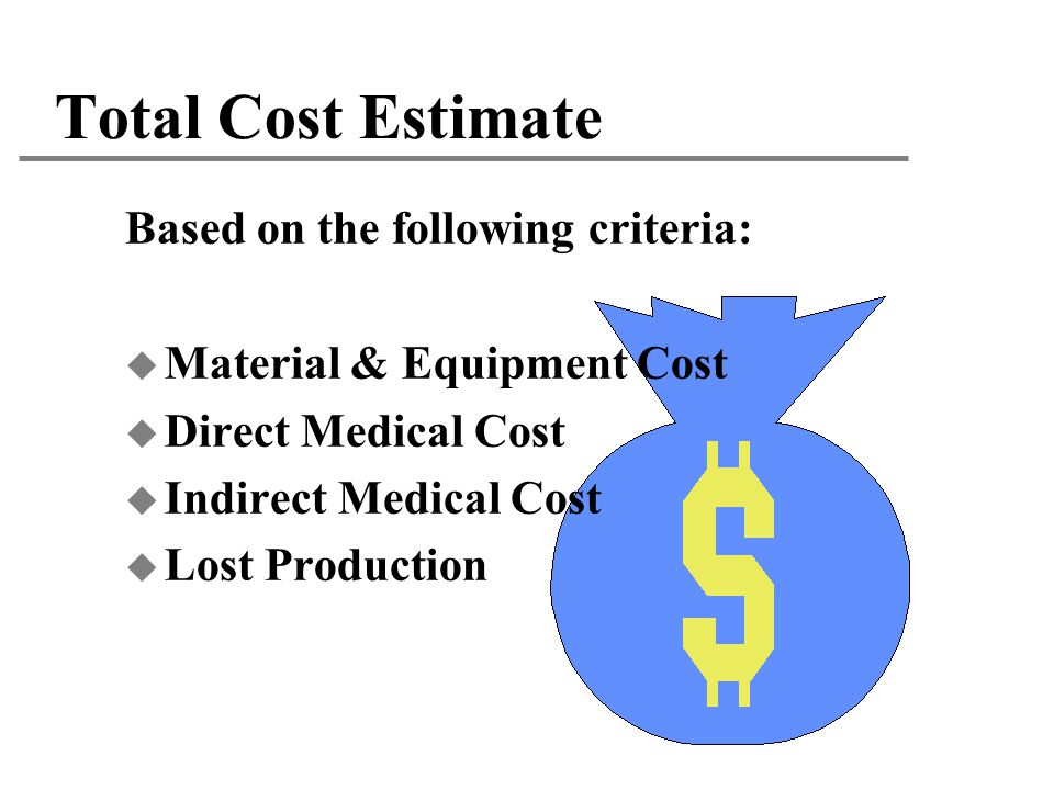 Total Cost Estimate Based on the following criteria: