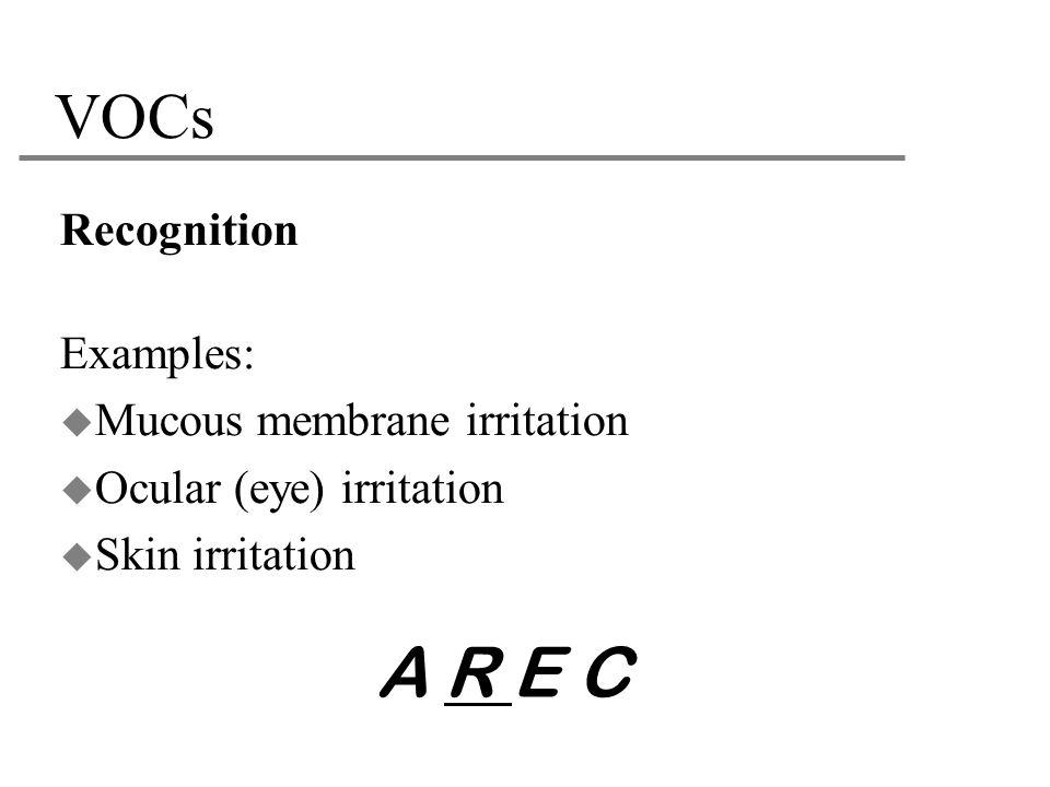 A R E C VOCs Recognition Examples: Mucous membrane irritation