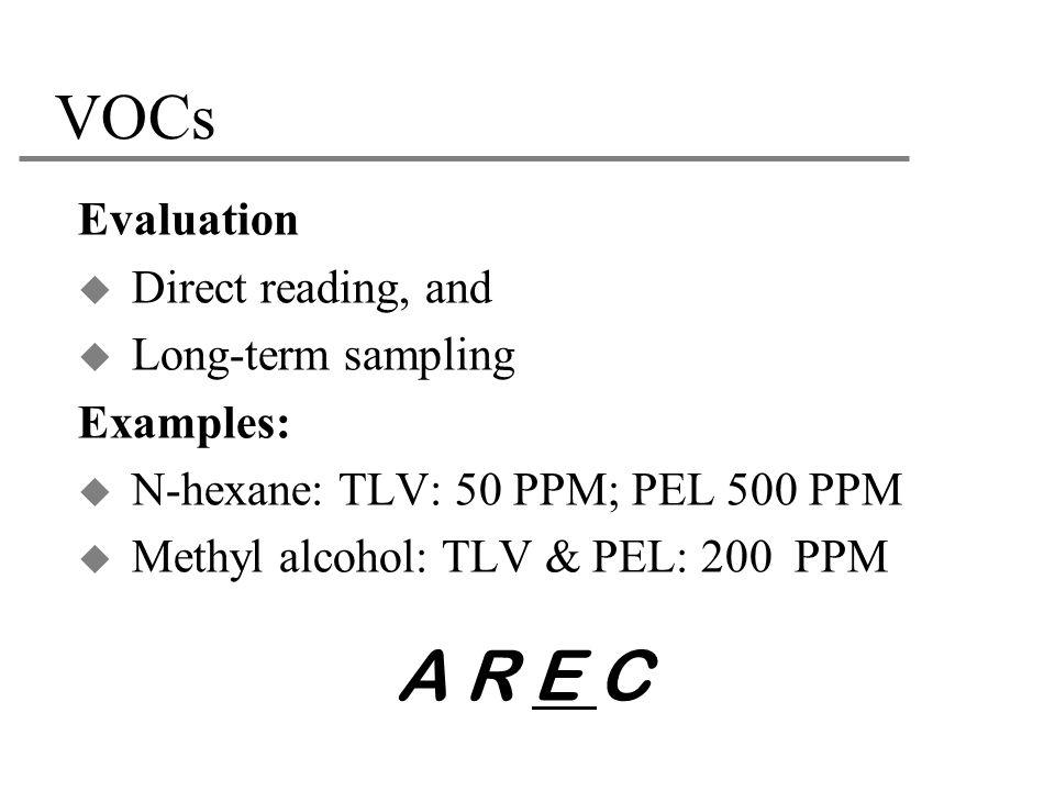A R E C VOCs Evaluation Direct reading, and Long-term sampling