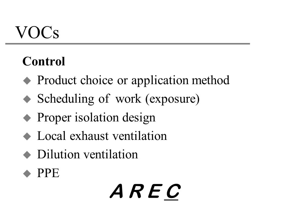A R E C VOCs Control Product choice or application method