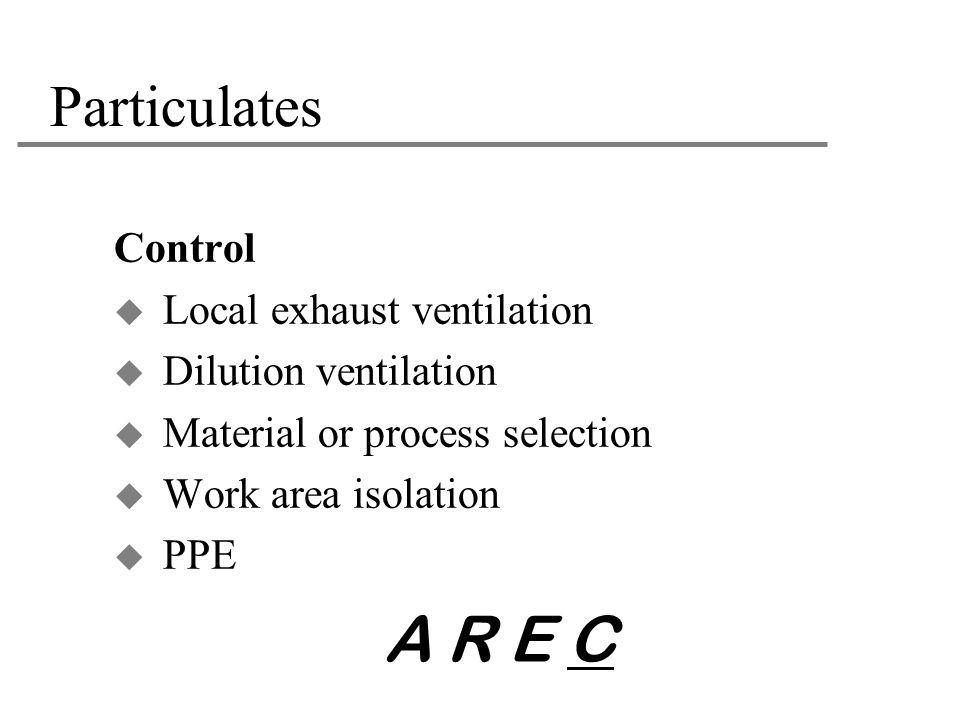 A R E C Particulates Control Local exhaust ventilation