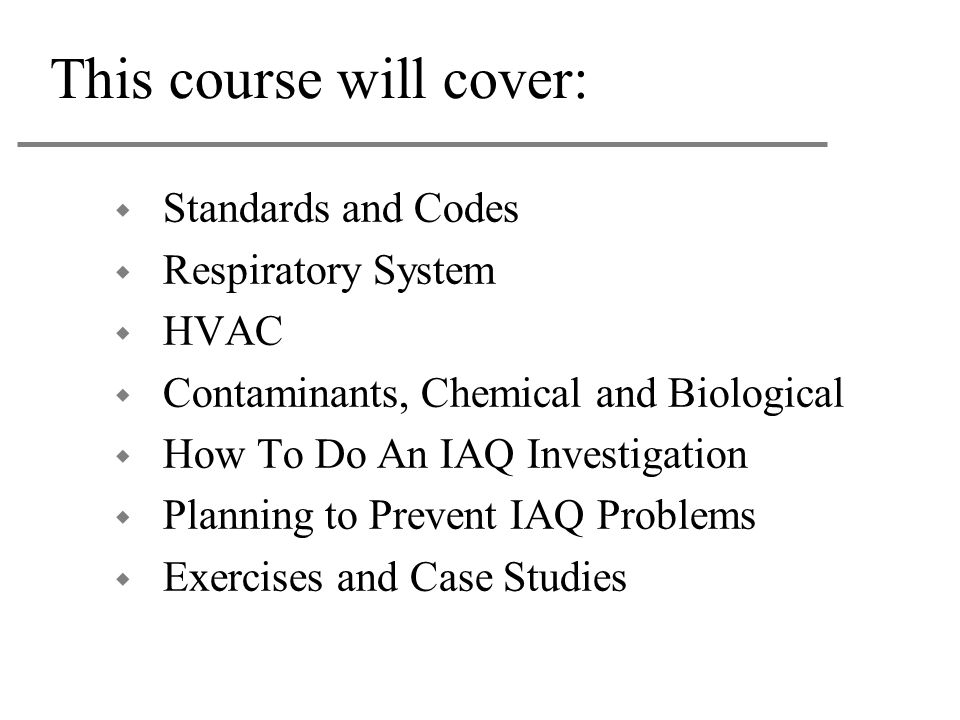 This course will cover: