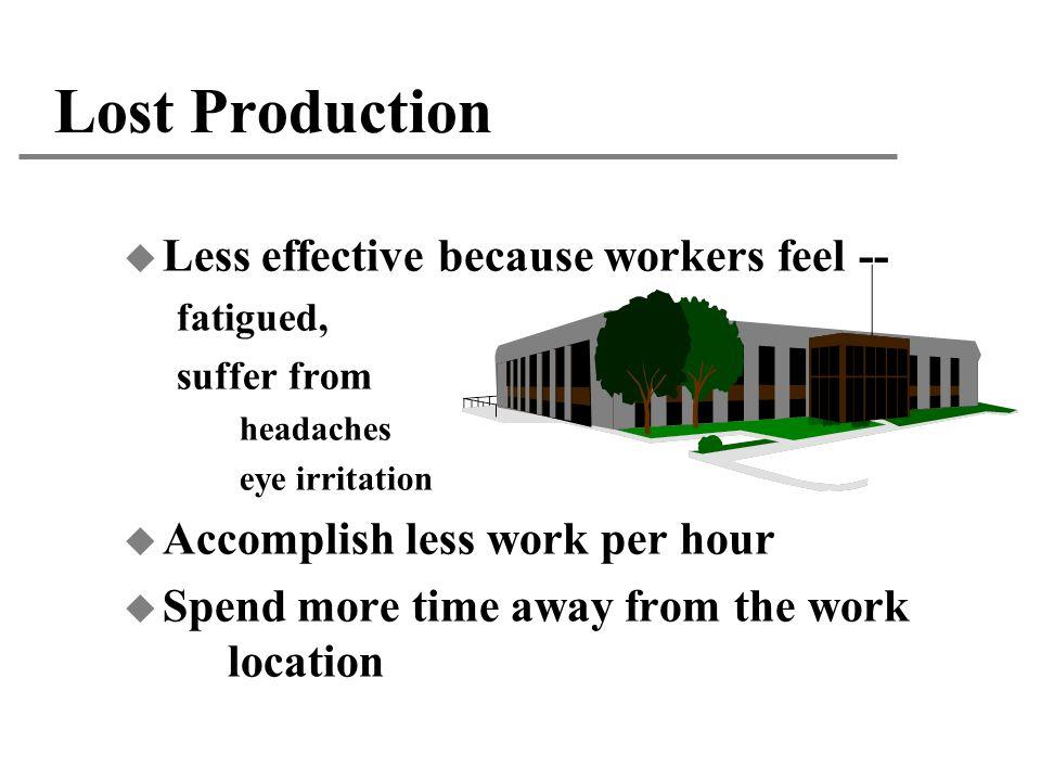 Lost Production Less effective because workers feel --