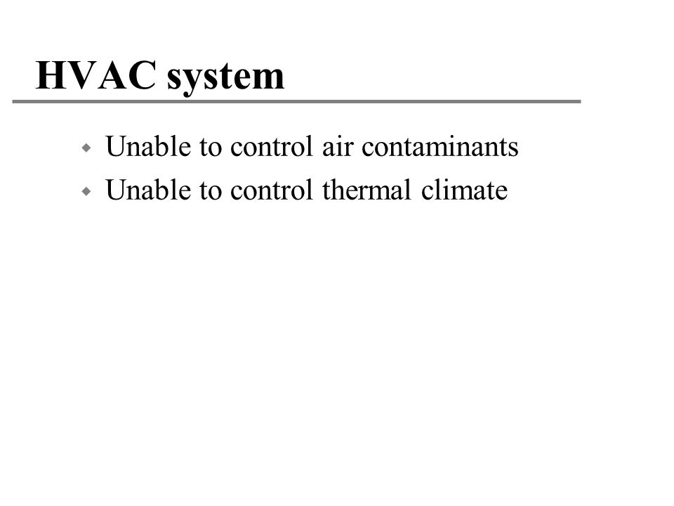 HVAC system Unable to control air contaminants
