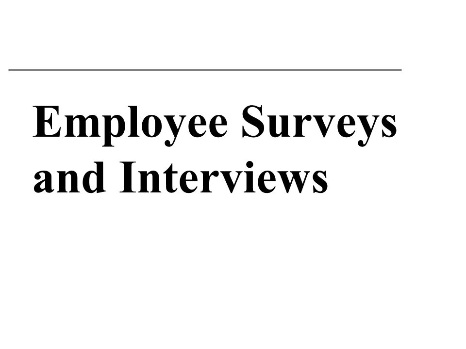 Employee Surveys and Interviews