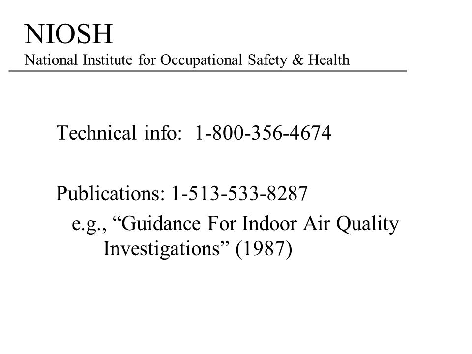 NIOSH National Institute for Occupational Safety & Health