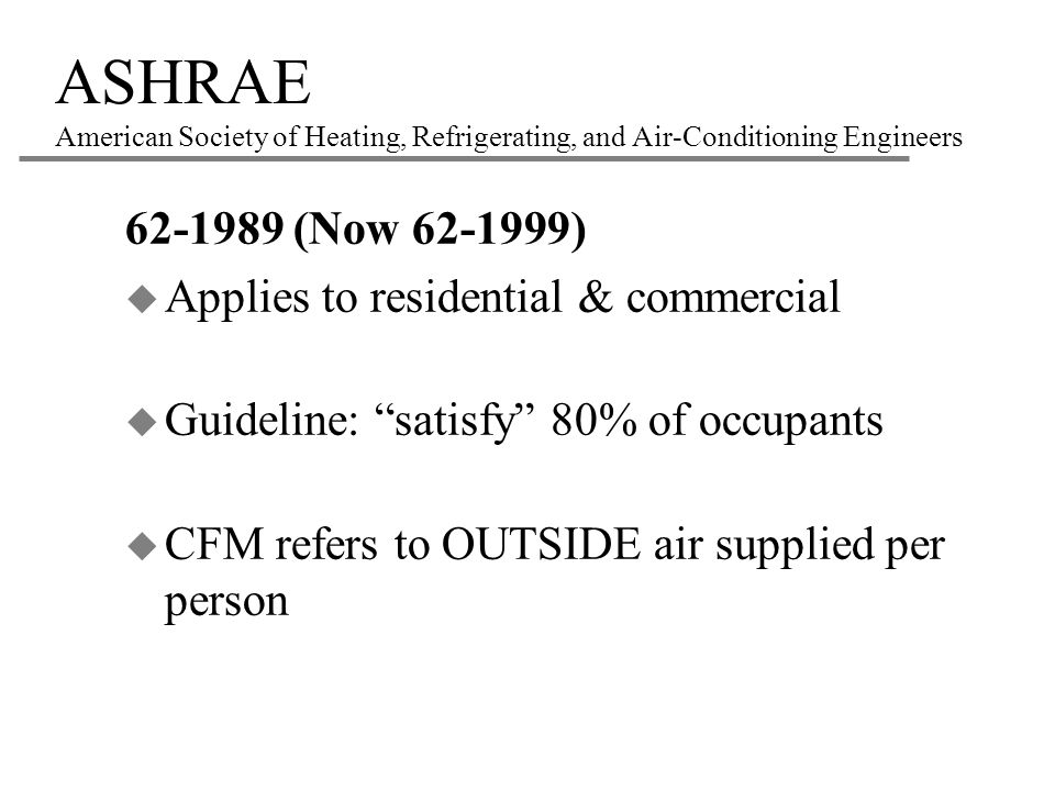 ASHRAE American Society of Heating, Refrigerating, and Air-Conditioning Engineers