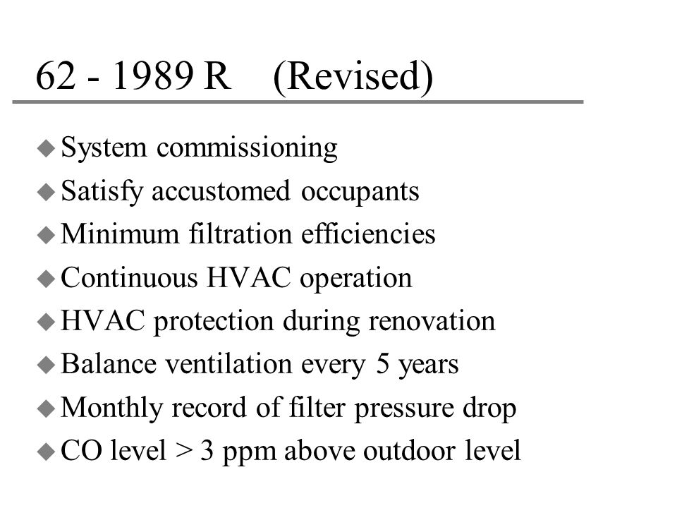 62 - 1989 R (Revised) System commissioning