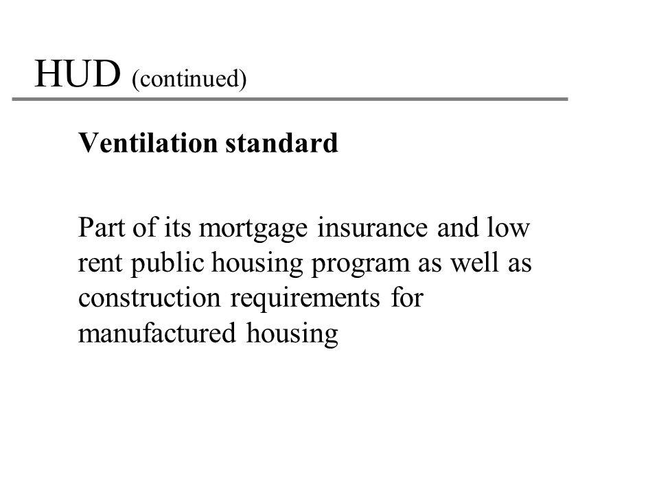 HUD (continued) Ventilation standard