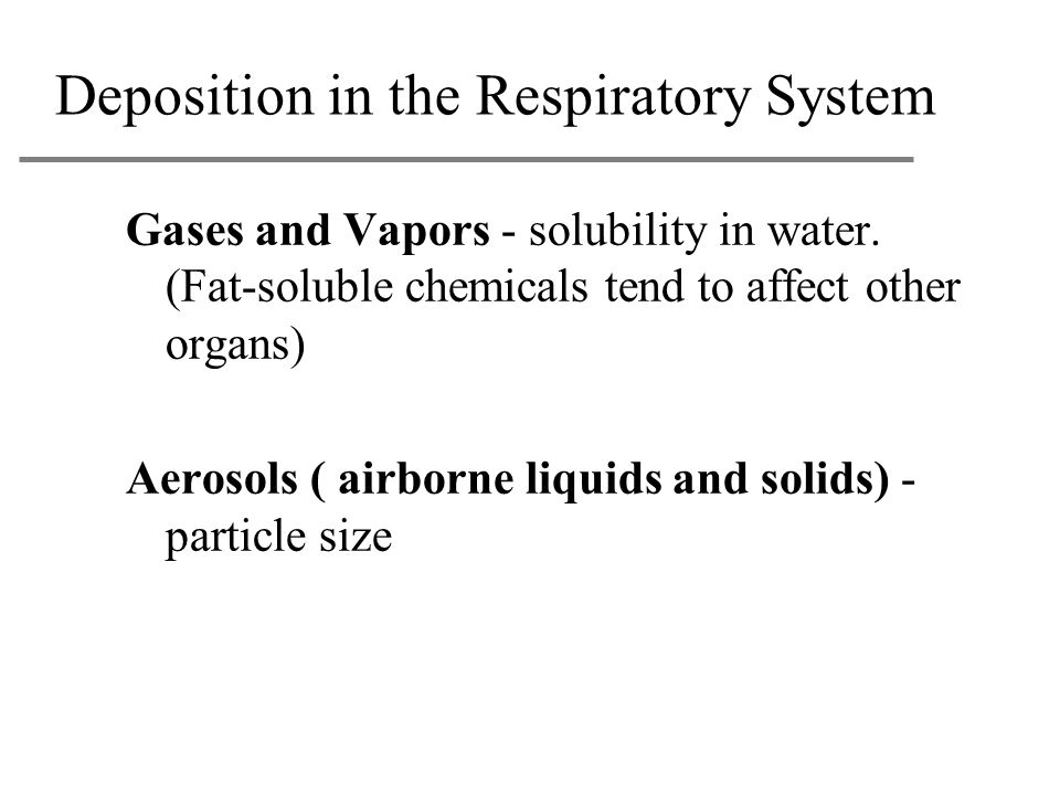 Deposition in the Respiratory System