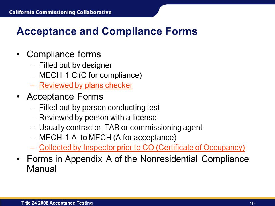 Acceptance and Compliance Forms