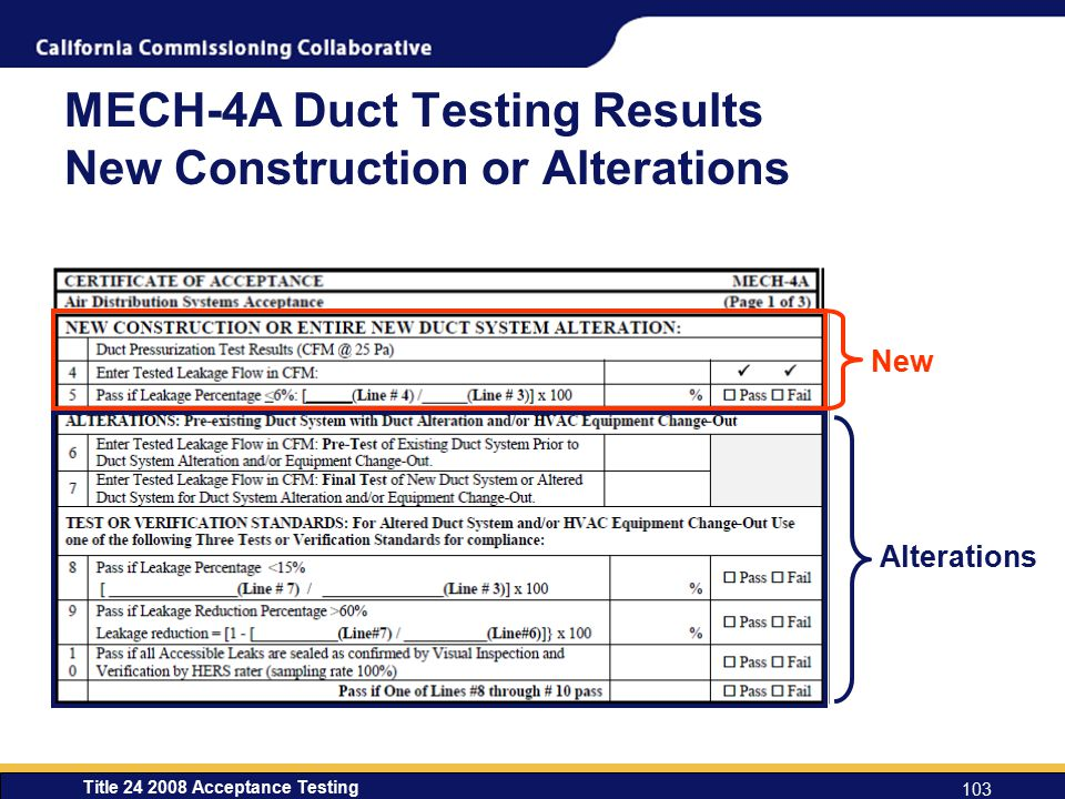 MECH-4A Duct Testing Results New Construction or Alterations