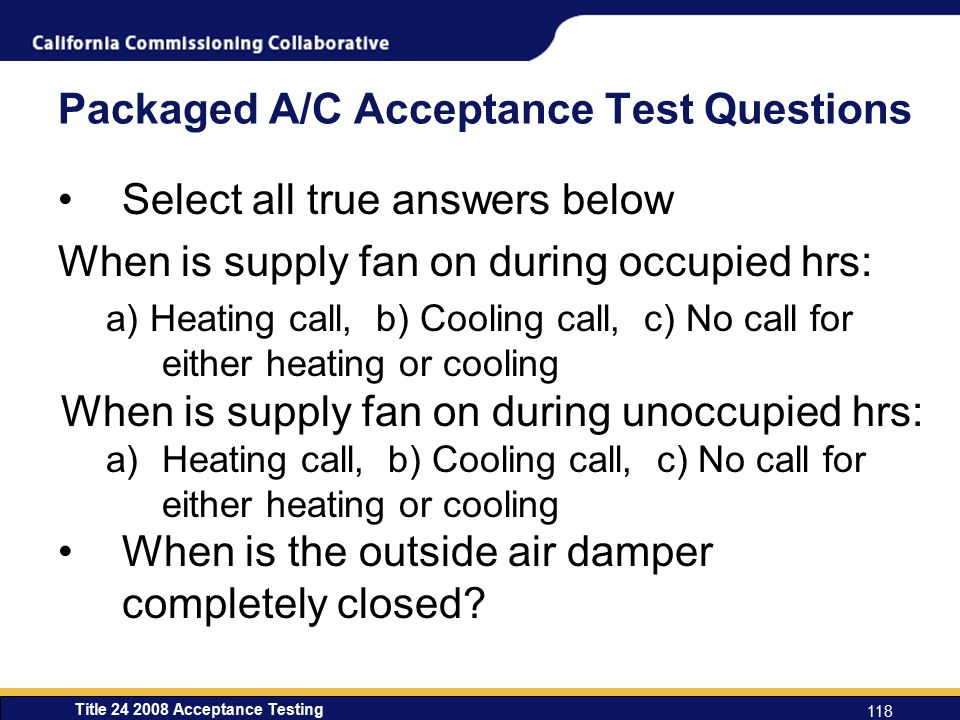 Packaged A/C Acceptance Test Questions