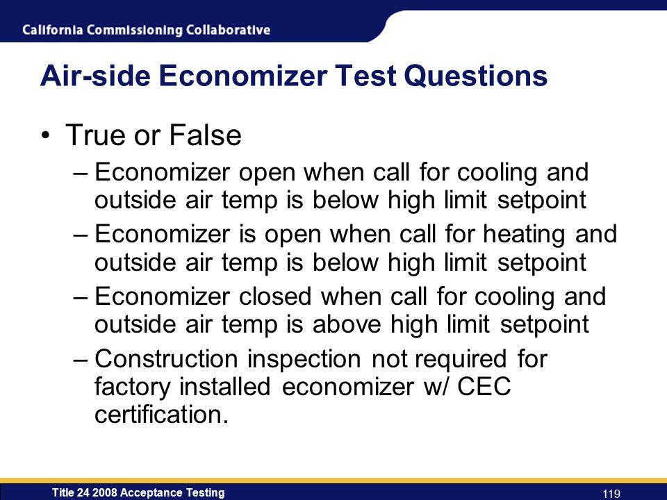 Air-side Economizer Test Questions