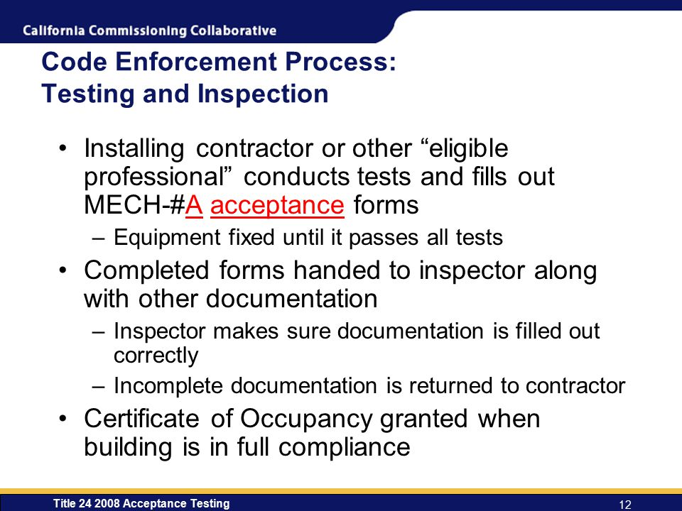 Code Enforcement Process: Testing and Inspection