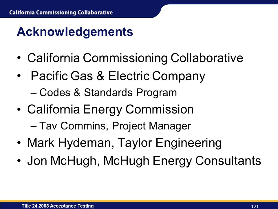 California Commissioning Collaborative Pacific Gas & Electric Company
