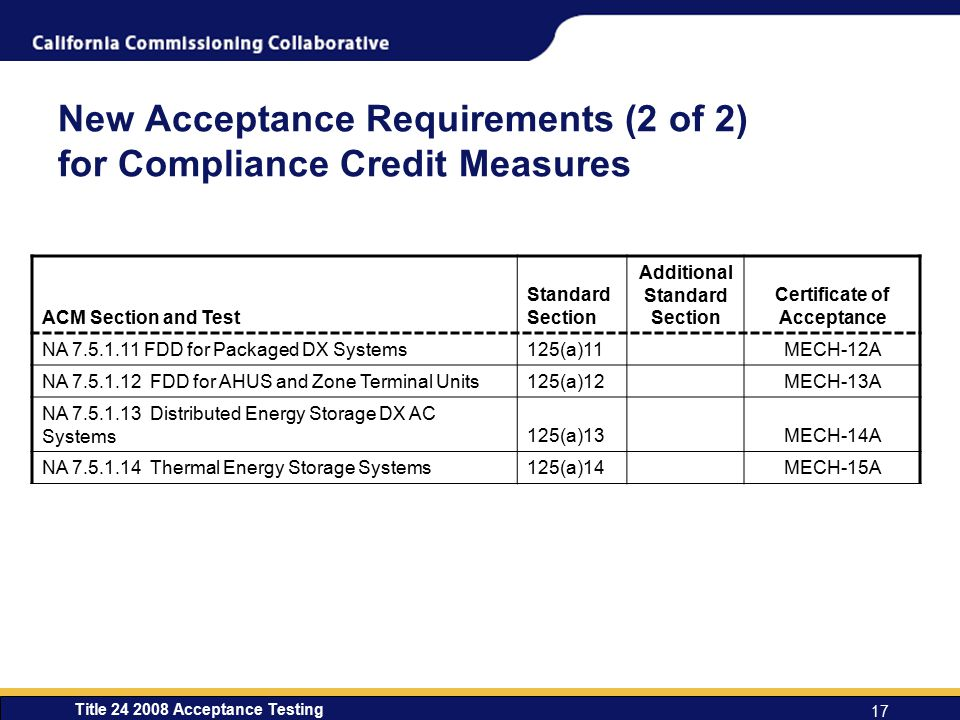 New Acceptance Requirements (2 of 2) for Compliance Credit Measures