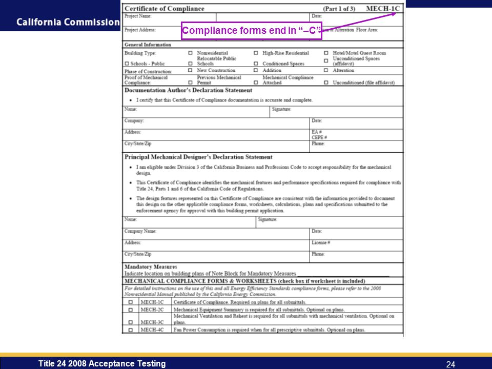 Compliance forms end in –C